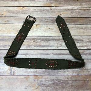 Military Style Army Green Belt Rivets Rhinestones